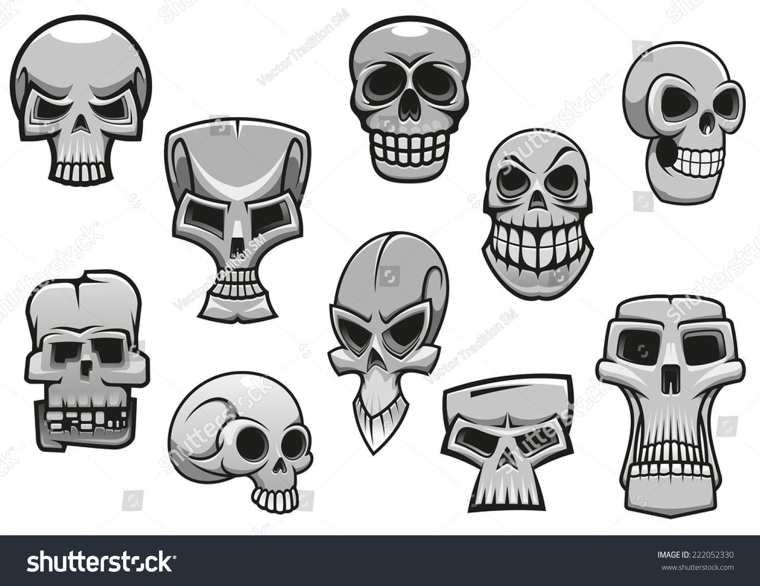 cartoon human scary halloween skulls for holiday design - Halloween Skulls Pictures