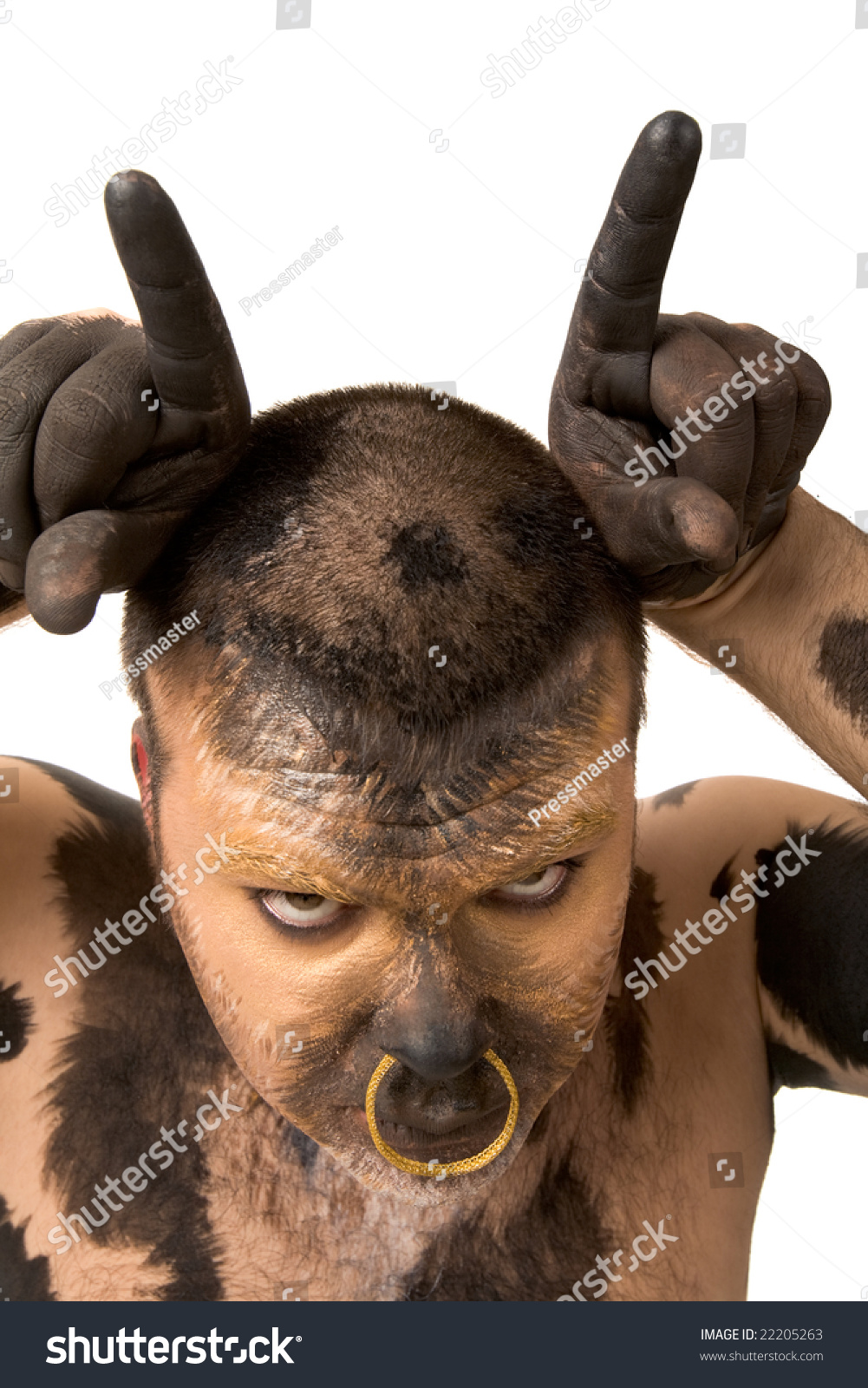 Painted Man Showing Bull Horns Looking Stock Photo 22205263 ...