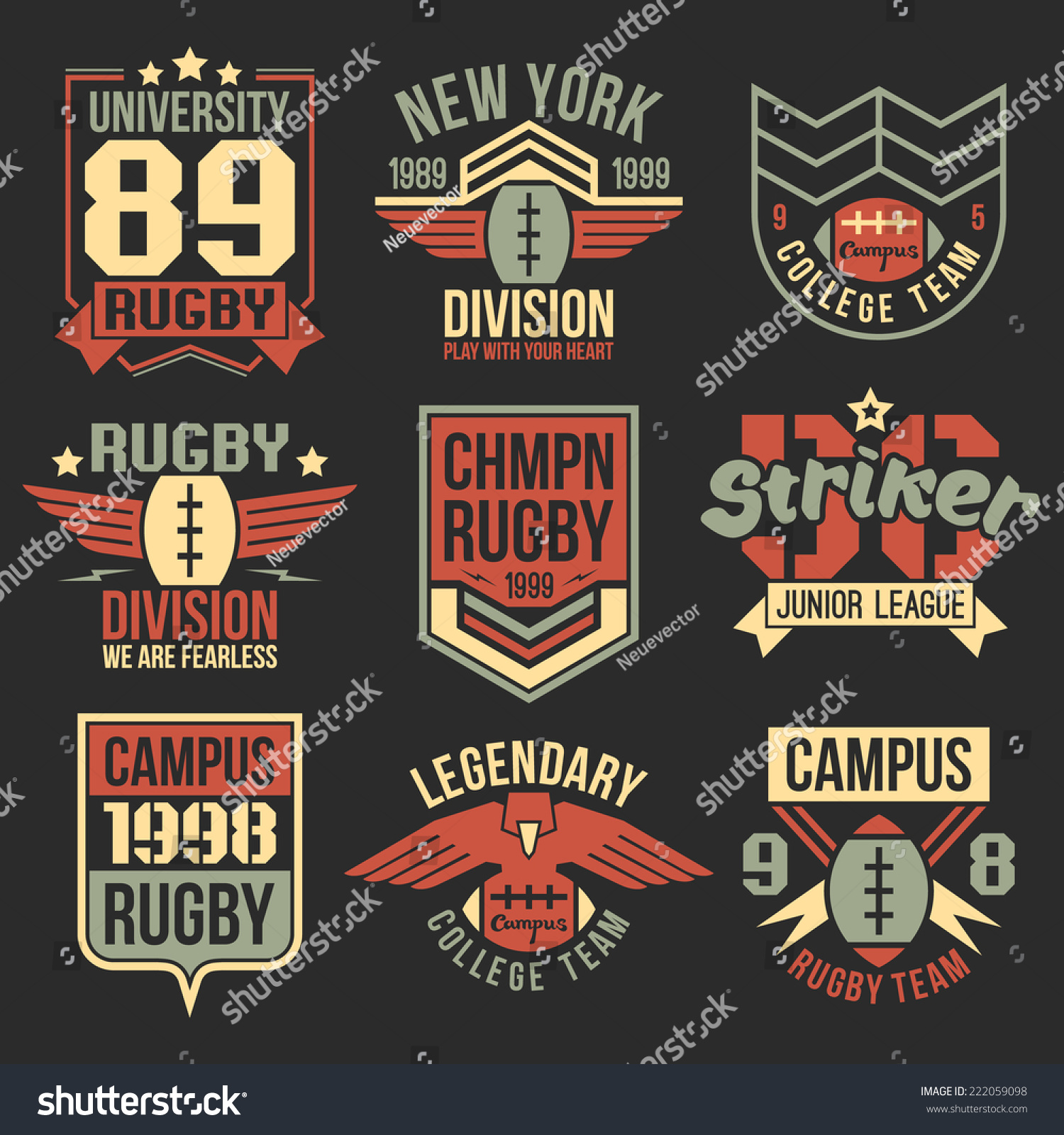 Design t shirt vintage - College Rugby Team Emblems In Retro Vintage Style Graphic Design For T Shirt