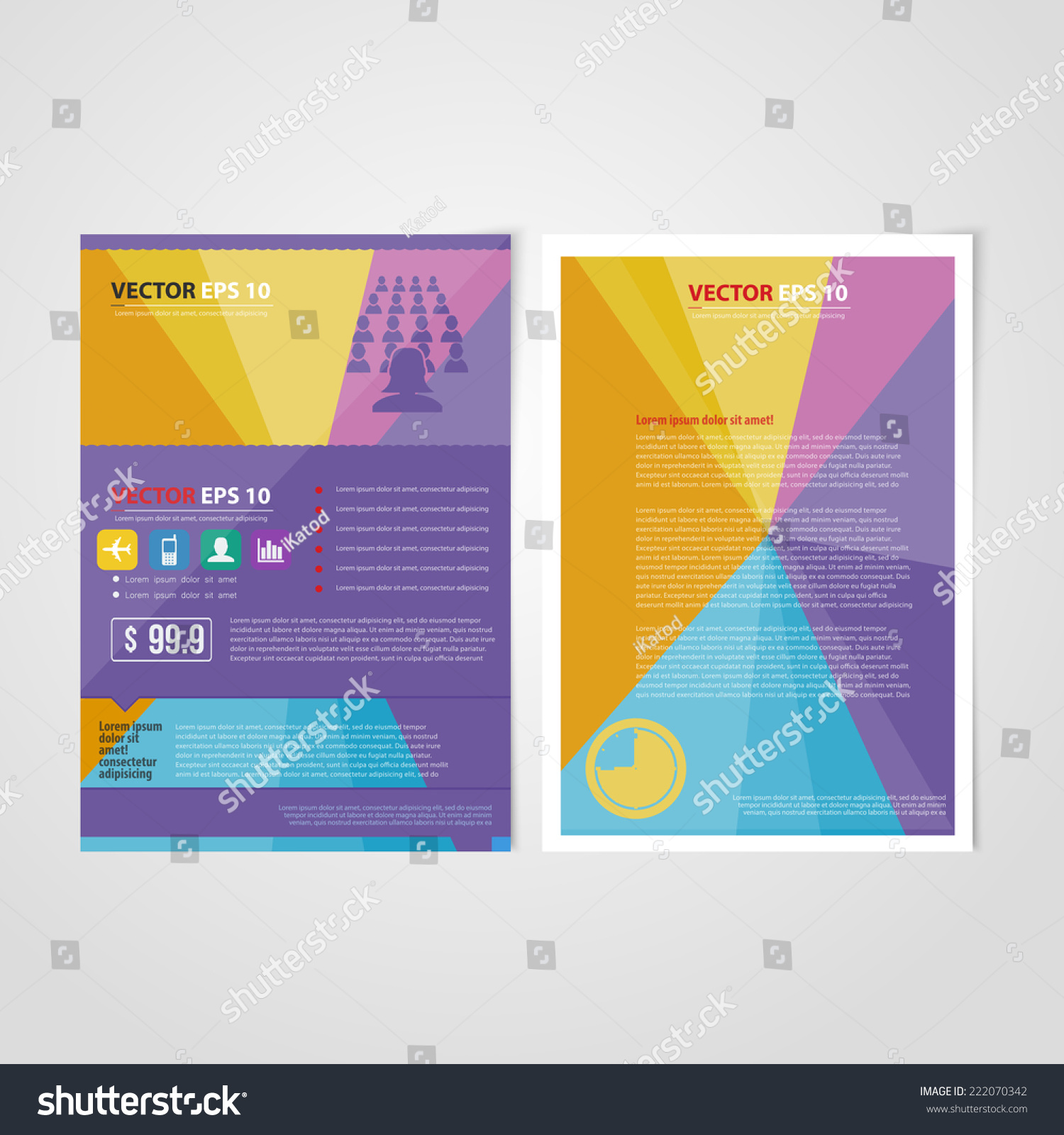 Flyer Template Back Front Design Brochure Stock Vector Royalty Free
