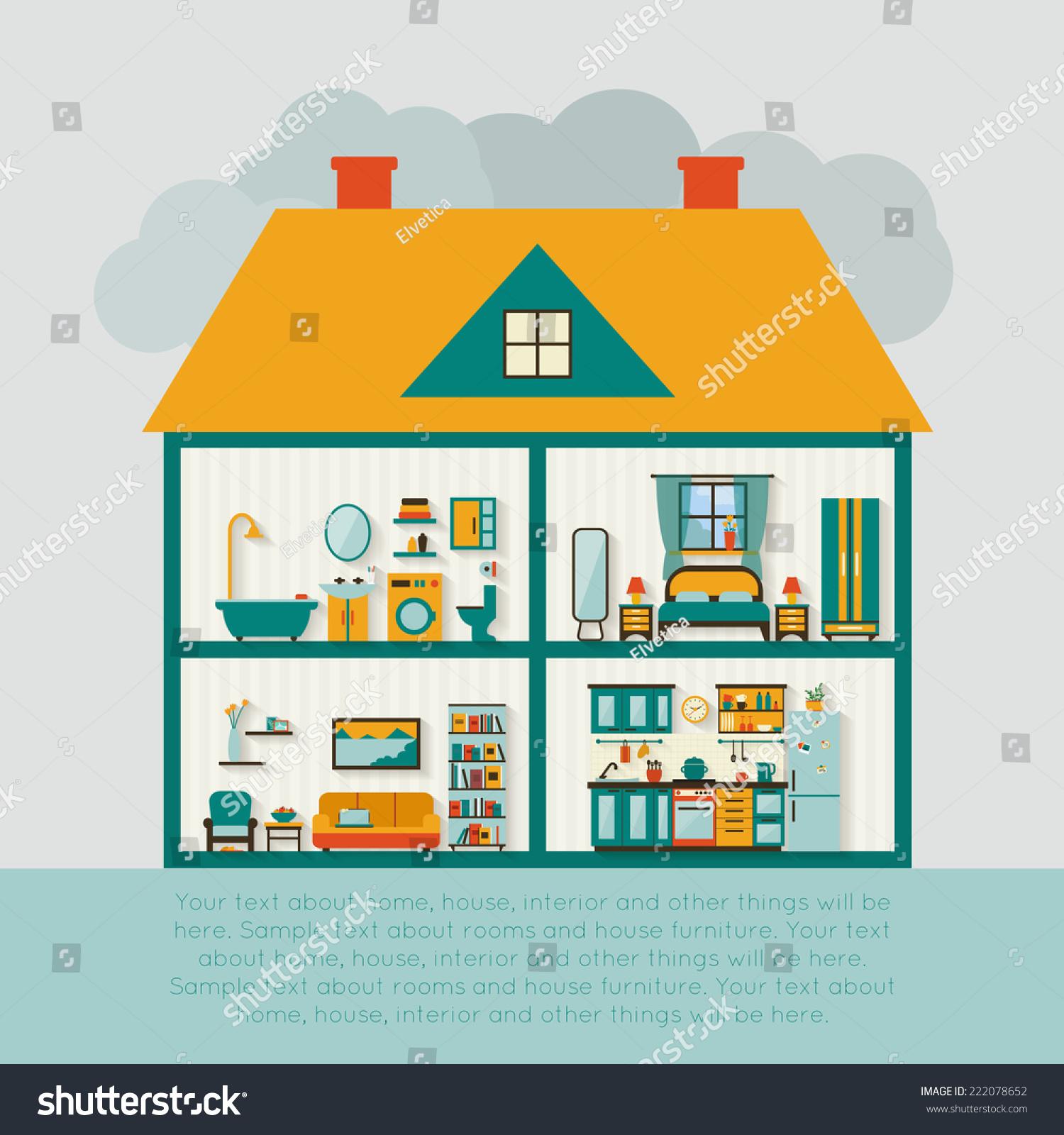 Set Interior Design House Rooms Furniture Stock Vector: House Cut Detailed Modern House Interior Stock Vector
