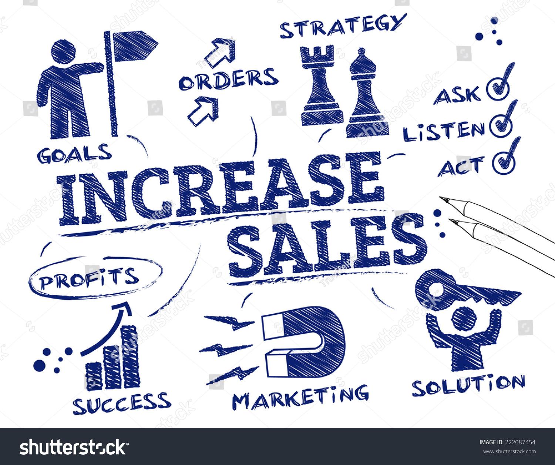 Increase Sales Chart Keywords Icons Stock Vector 222087454 ...