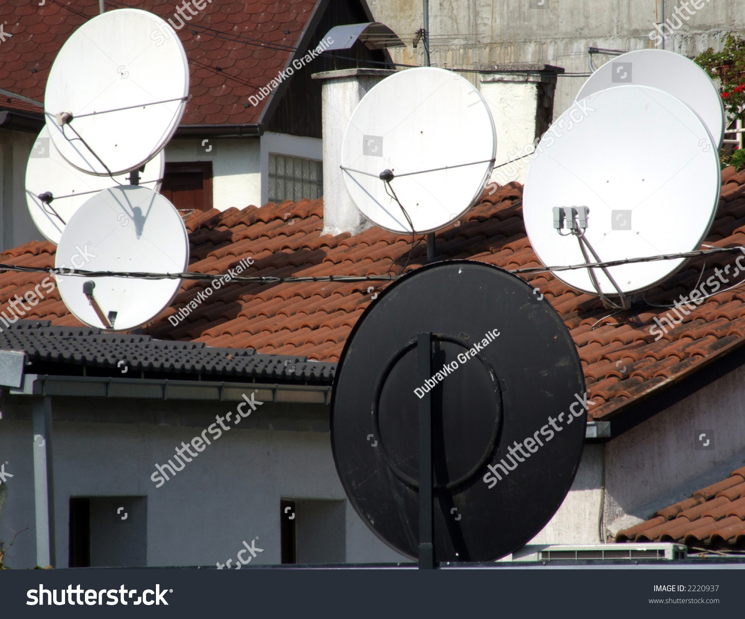 dishes for satellite tv reception stock photo 2220937 shutterstock. Black Bedroom Furniture Sets. Home Design Ideas