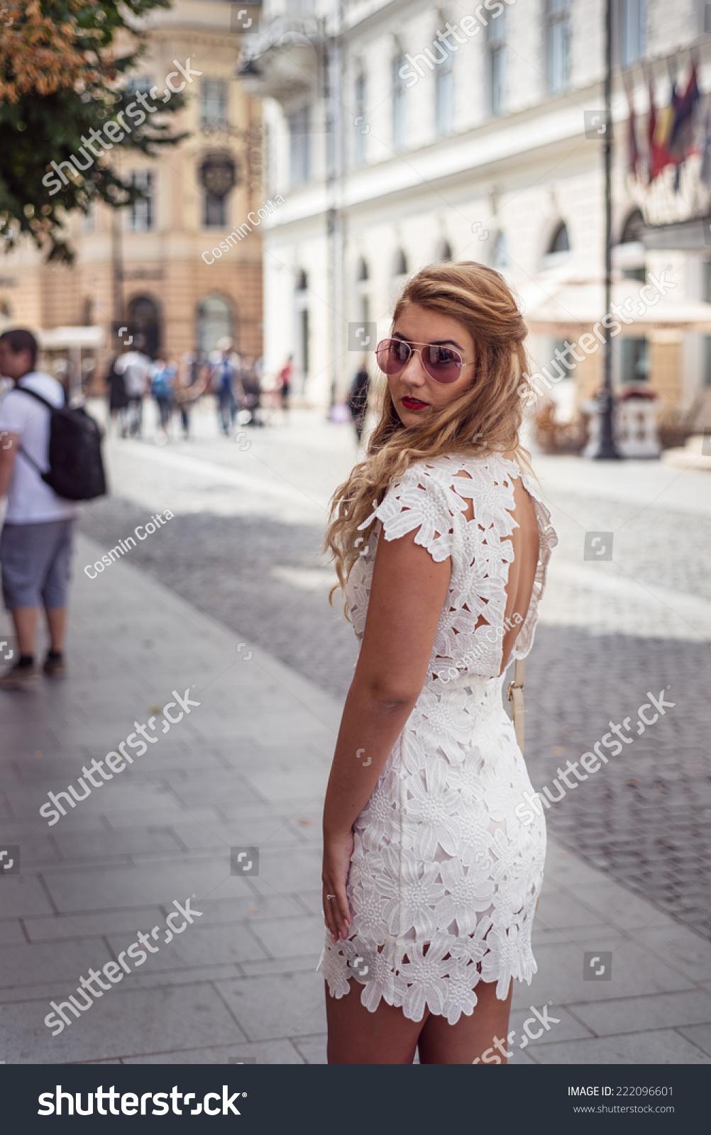 Glamorous Elegant Woman Backless White Dress Stock Photo 222096601 ...