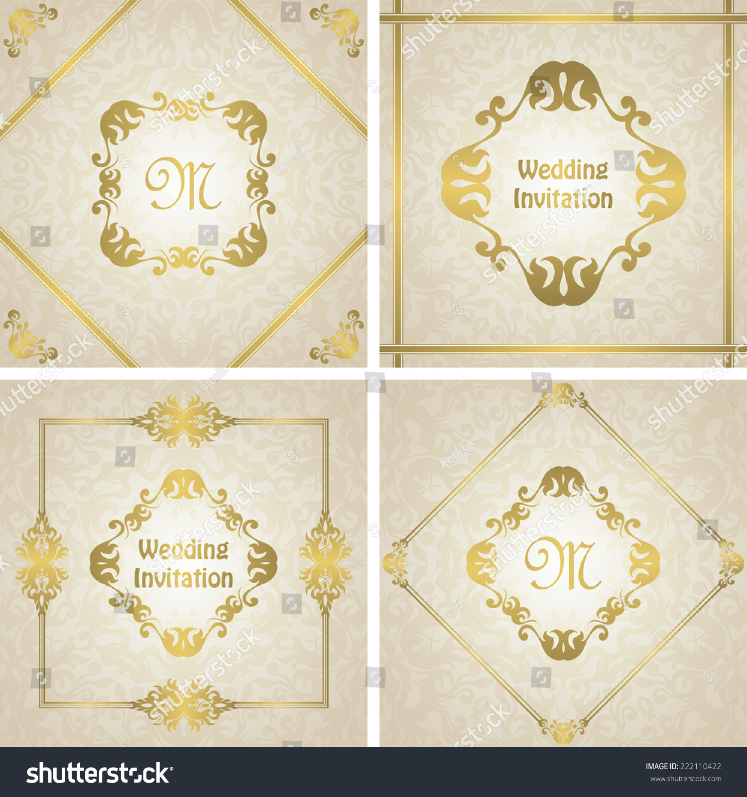 Set Wedding Invitations Gold Frame Original Stock Vector 222110422 ...