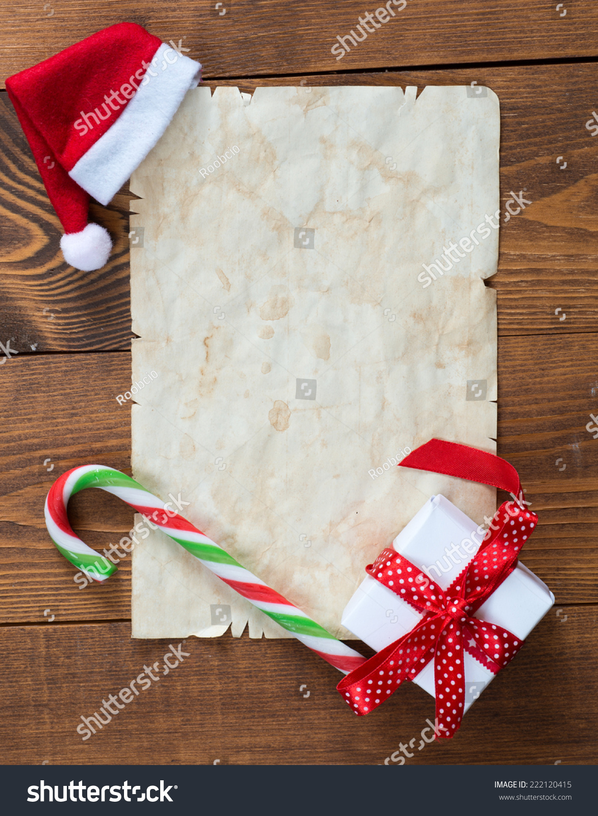 Christmas Decorations Old Paper Place Greeting Stock Photo