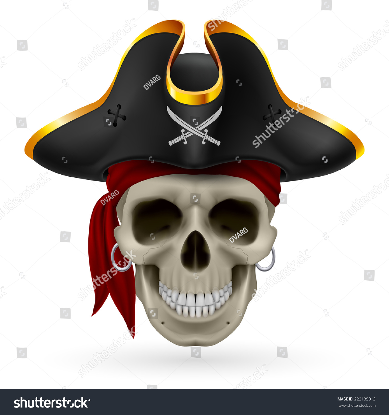 Venom Grin Vector: Pirate Skull Red Bandana Cocked Hat Stock Vector 222135013