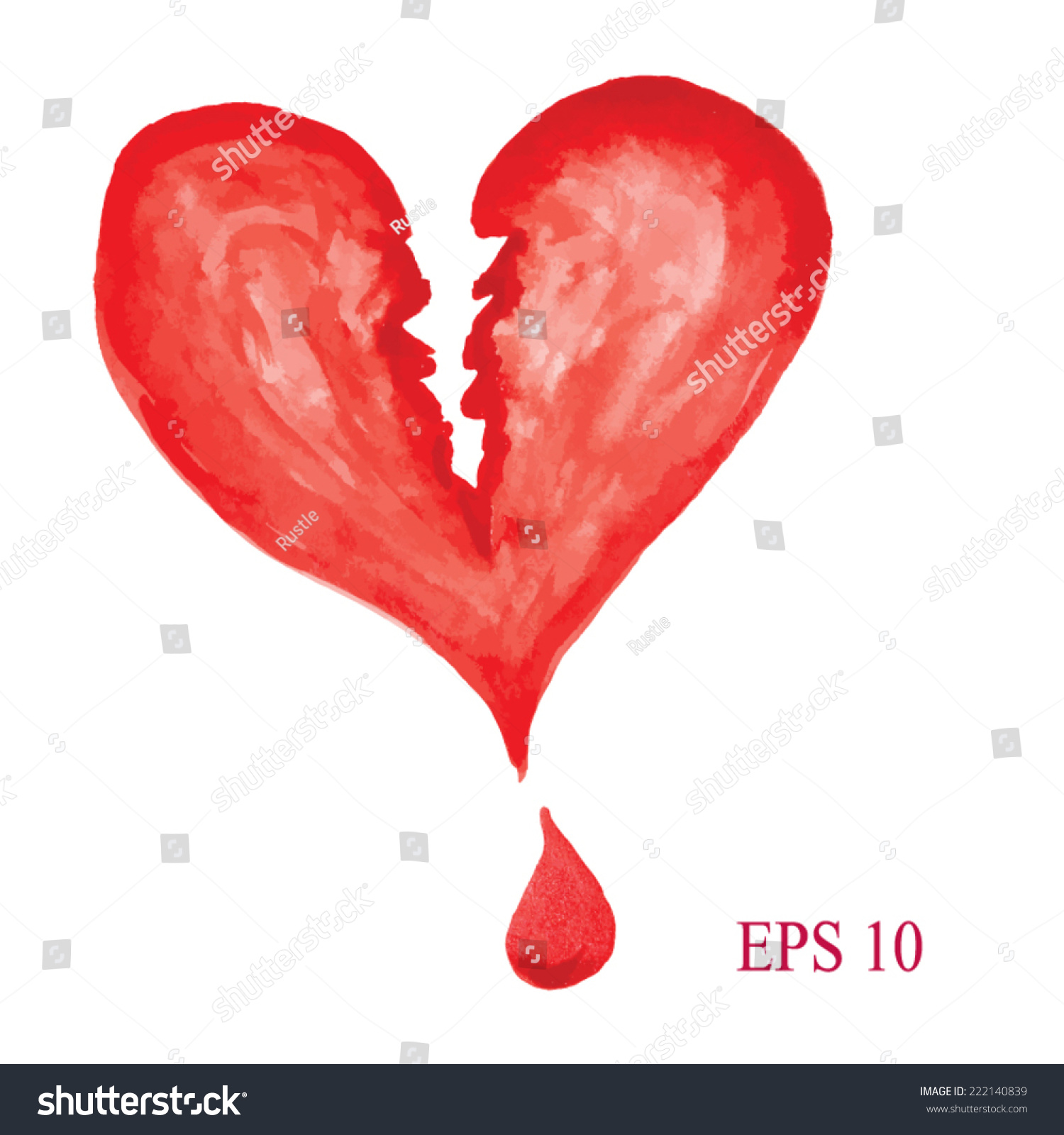 Watercolor heart symbol broken heart handdrawn stock vector watercolor heart symbol of broken heart hand drawn painted red heart vector buycottarizona