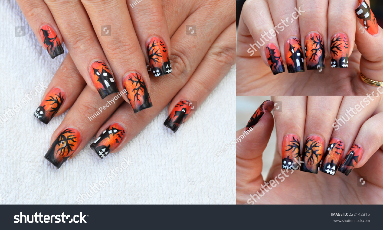 Amazing Free Hand Painted Halloween Nail Stock Photo (Royalty Free ...