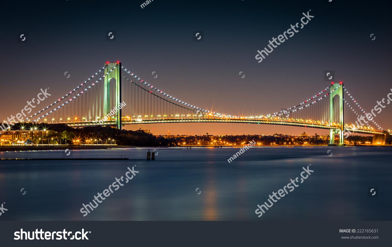 Verrazanonarrows Bridge Night Viewed Ocean Breeze Stock ...