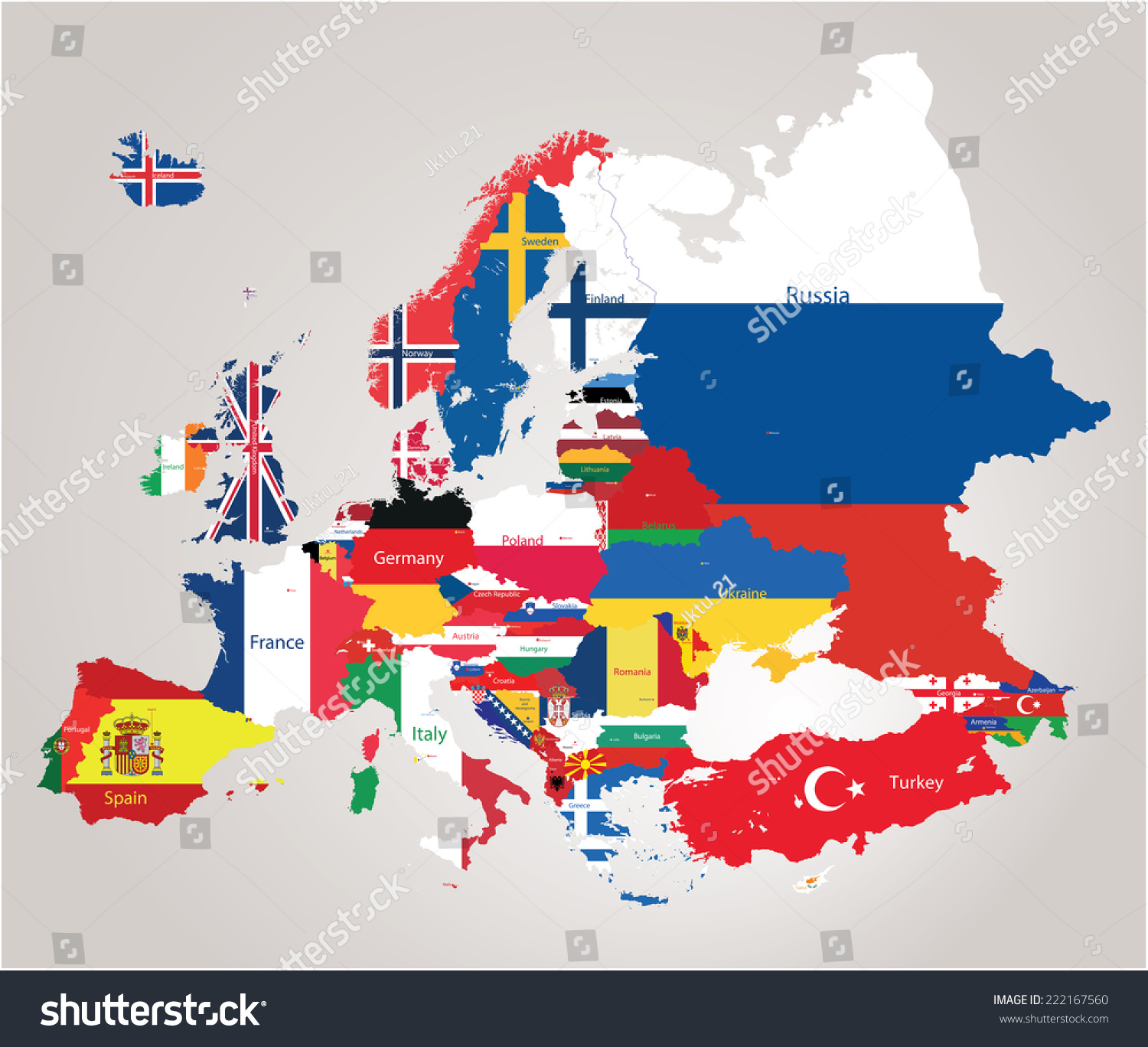 Europe Map Jointed Country Flags Vector 222167560 Shutterstock – Euorop Map