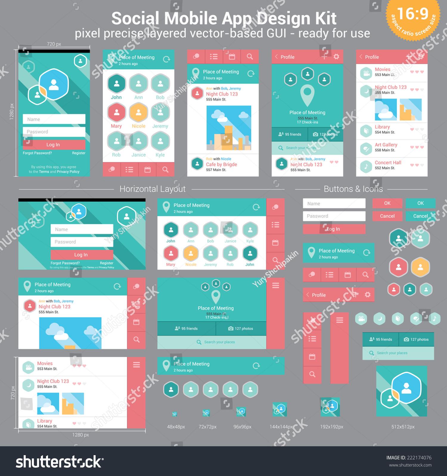 Social Mobile App Design Kit Pixel Stock Vector 222174076
