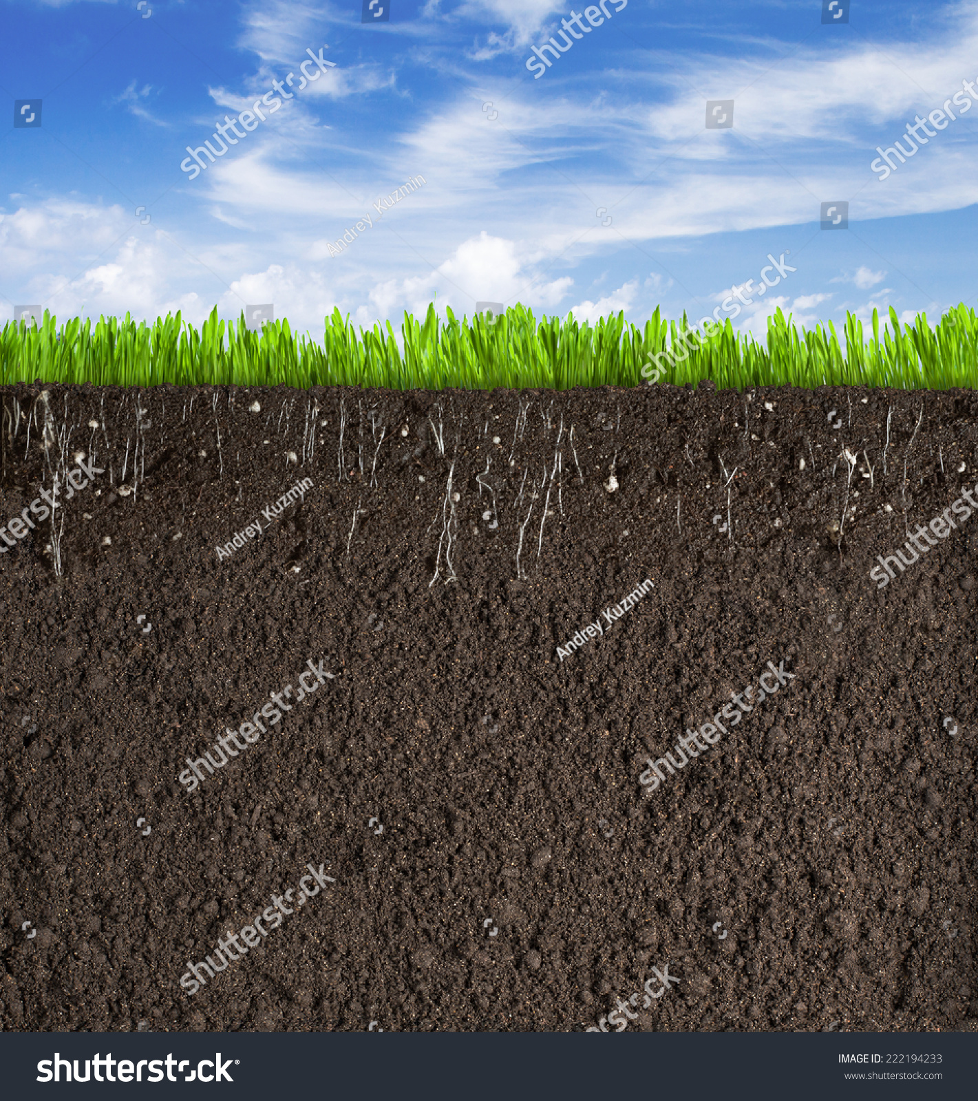 Soil Or Dirt Section With Grass Under Sky Stock Photo