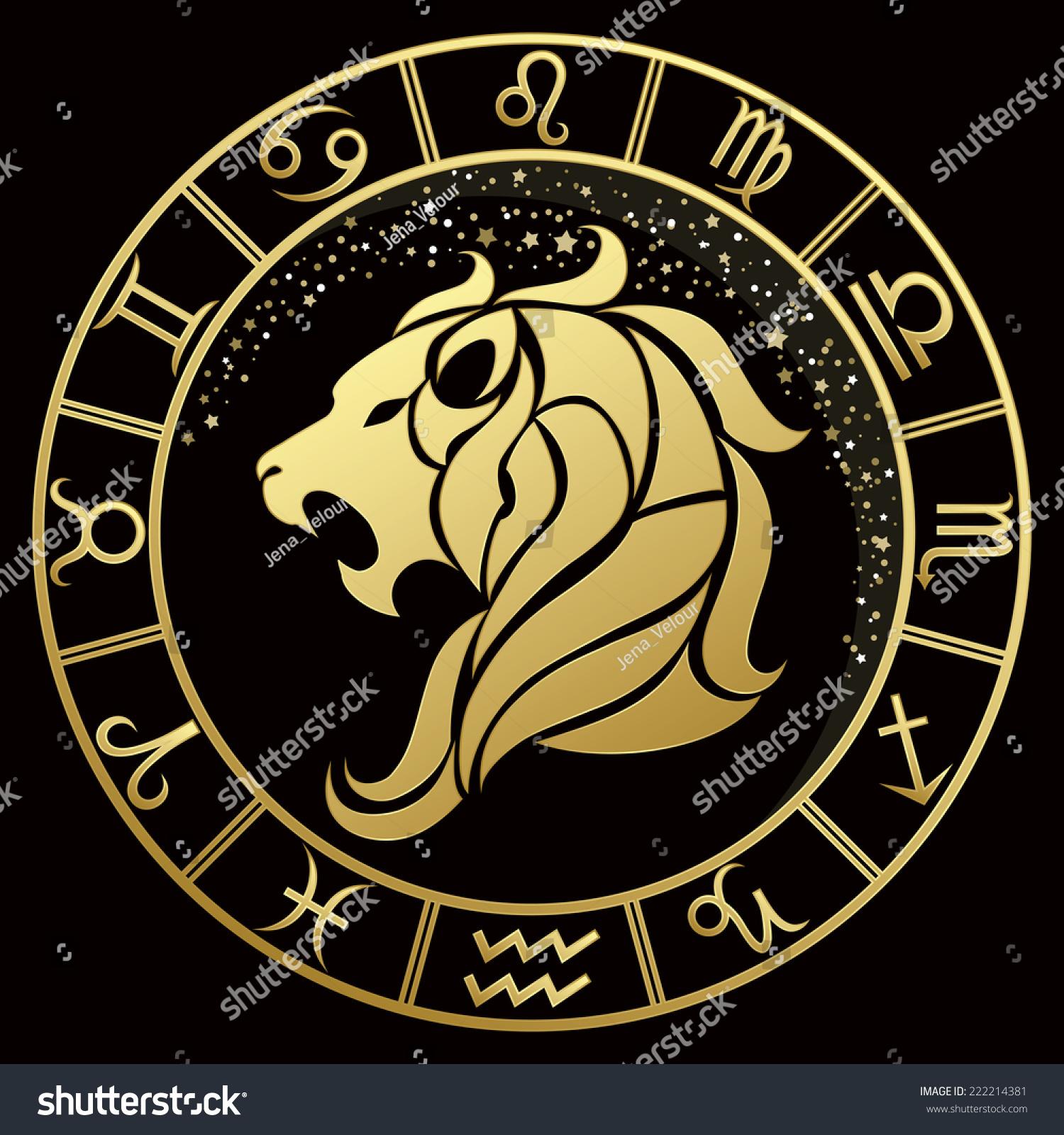 Golden Leo Zodiac Sign Vector Illustration Stock Vector Royalty