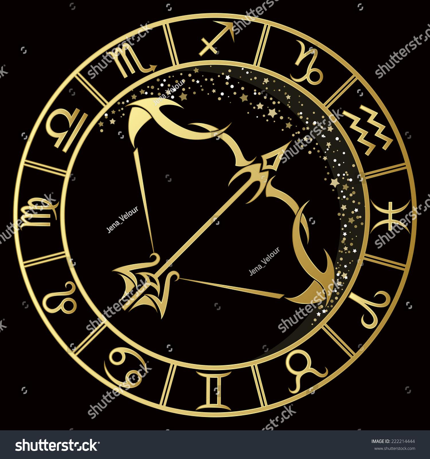 Golden Sagittarius Zodiac Sign. Vector Illustration ...