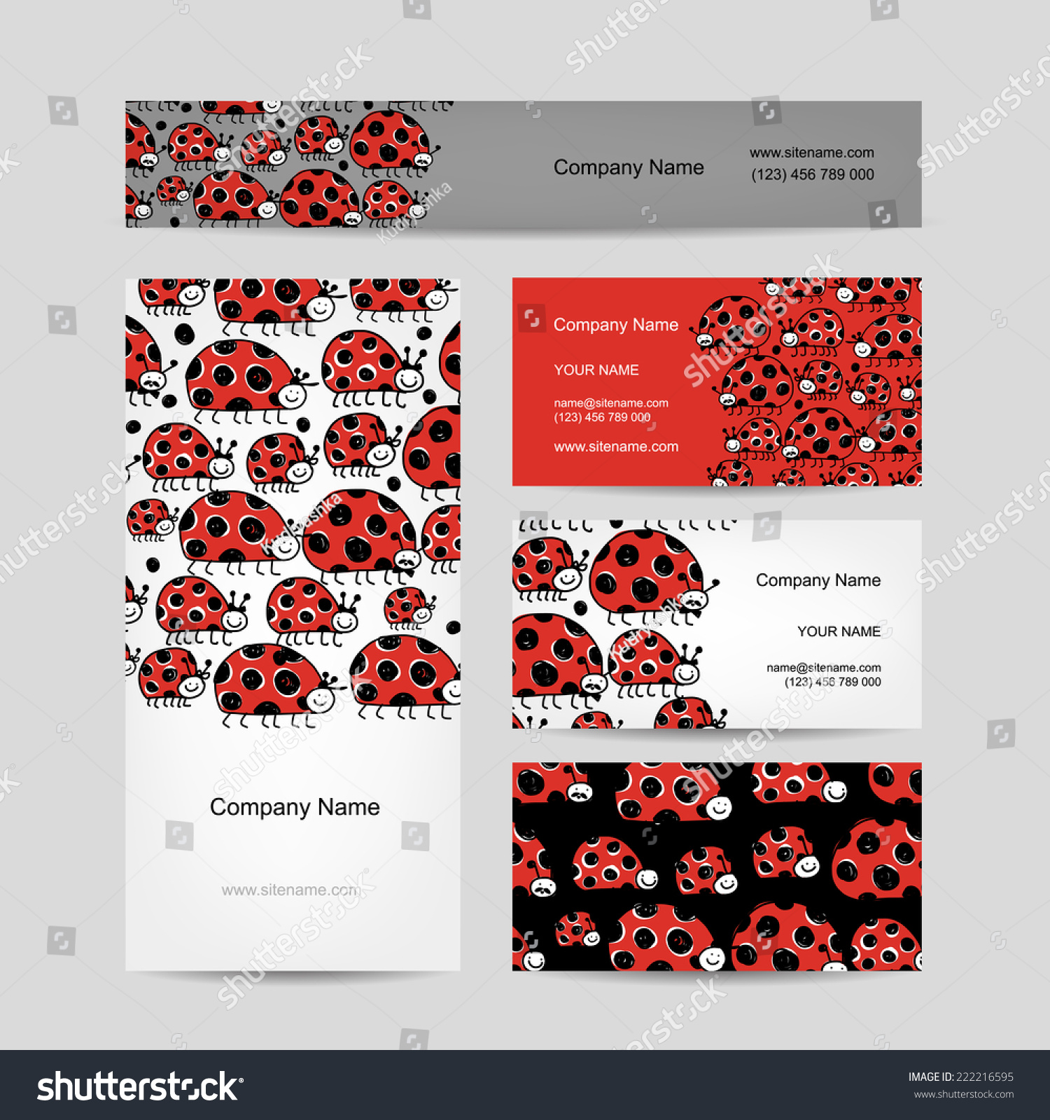 Funny Ladybirds Business Cards Your Design Stock Vector 222216595 ...