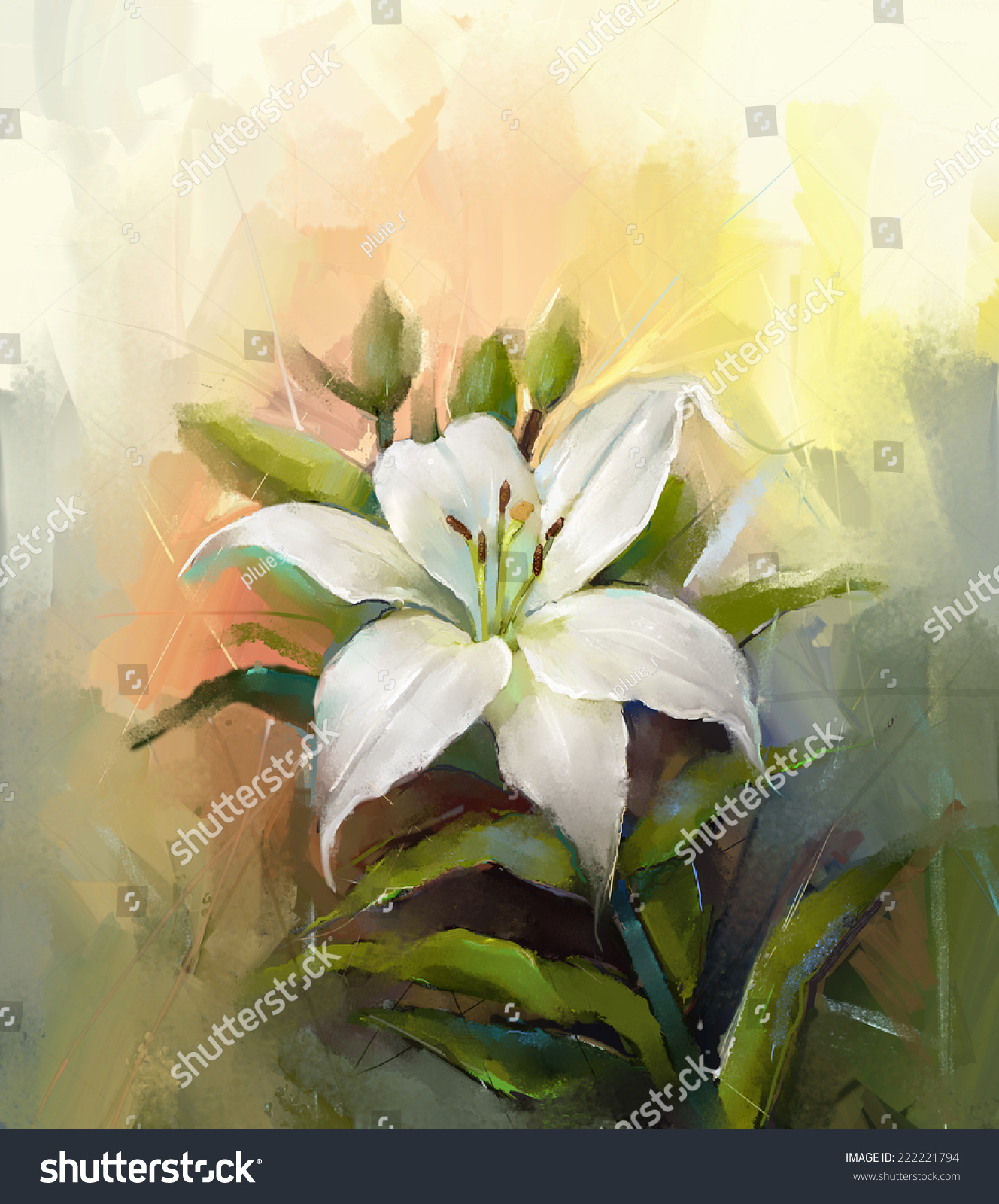 Oil painting still life white lily stock illustration 222221794 oil painting still life of white lily flower with green leaf izmirmasajfo
