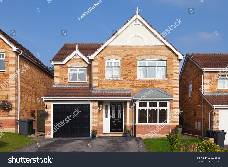 modern english detached house garage stock photo 222235528
