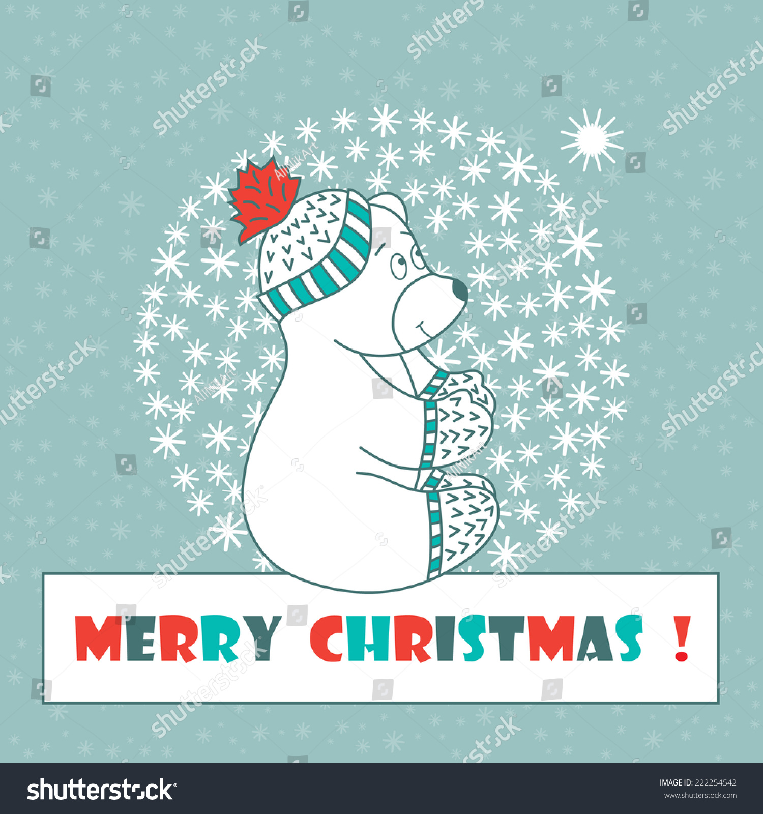 Christmas Card. Polar Bear. Merry Christmas. New Year. Stock Vector ...