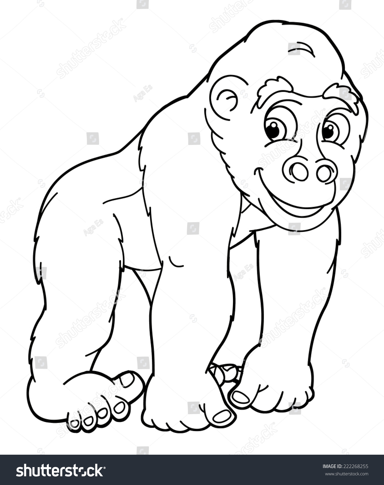 Coloring sheet gorilla - Cartoon Animal Gorilla Caricature Coloring Page Illustration For The Children