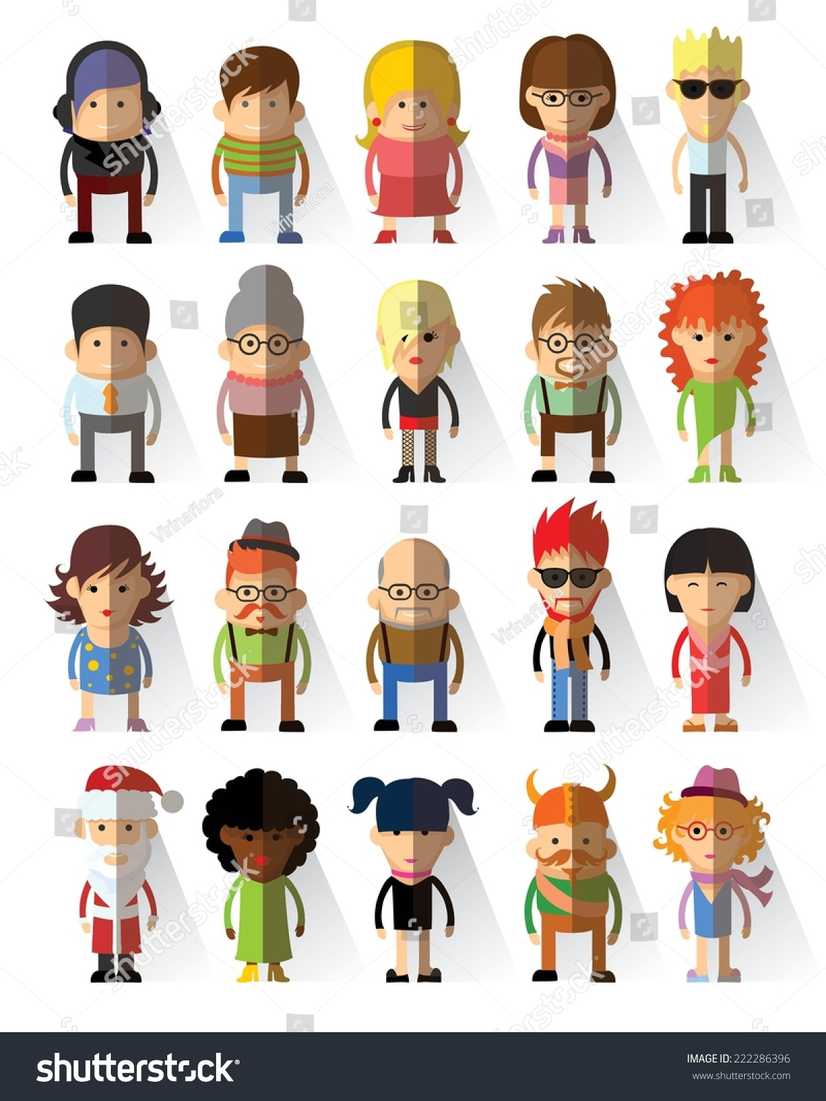 Character Design Icon : Set vector cute character avatar icons stock vektor