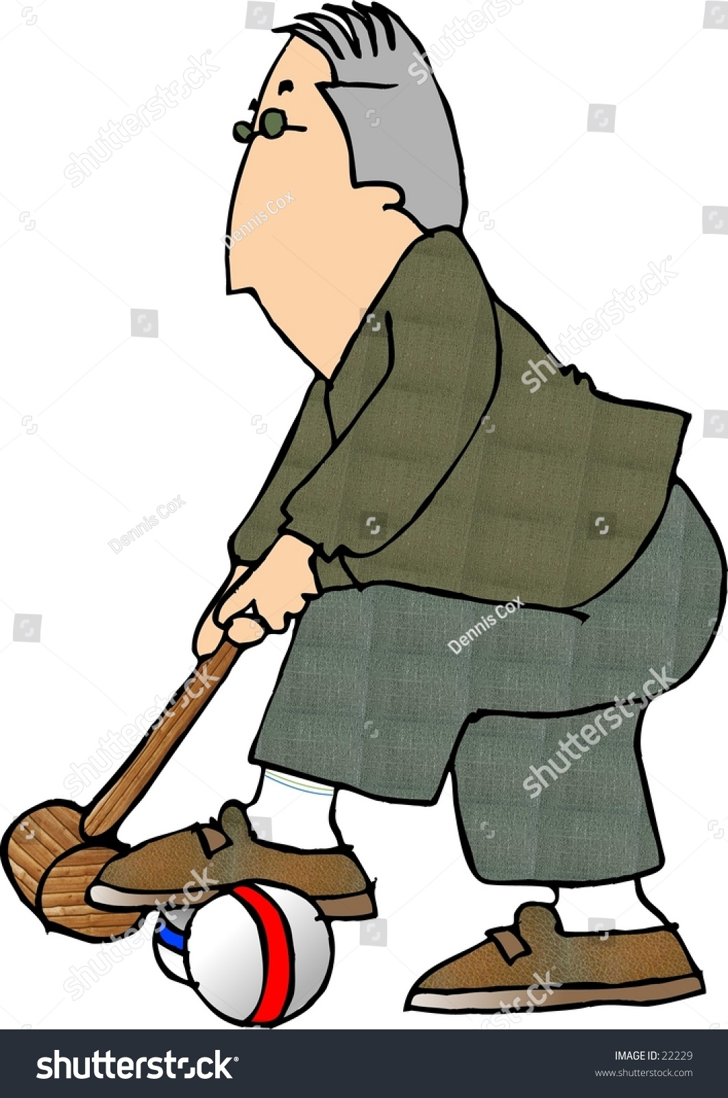 Clipart Illustration Of Man Playing Croquet. - 22229 : Shutterstock