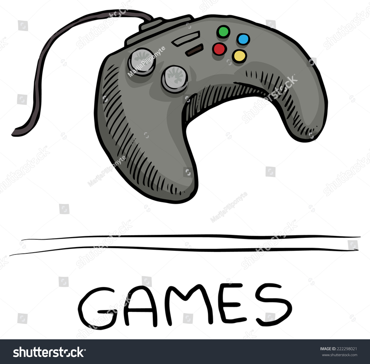 Hand Drawn Game Controller Icon Symbol Stock Vector 222298021 ...