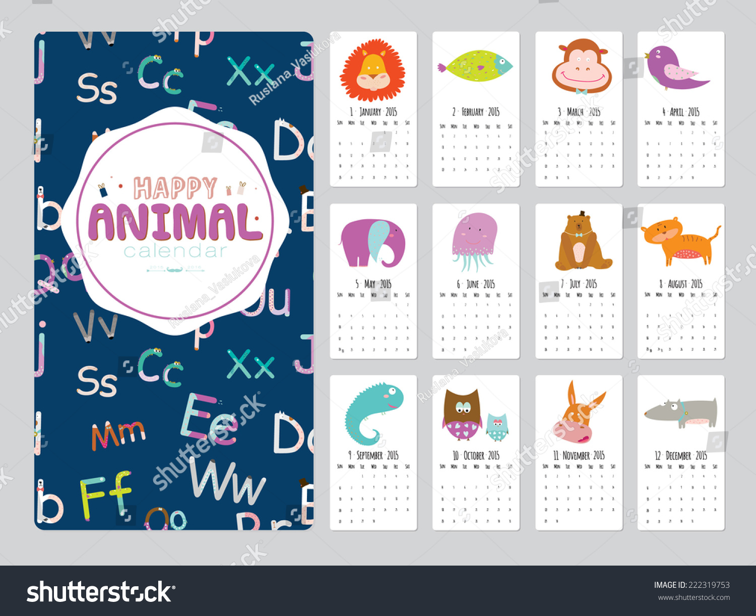 Cute Calendar Illustration : Unusual calendar cartoon funny animals stock vector
