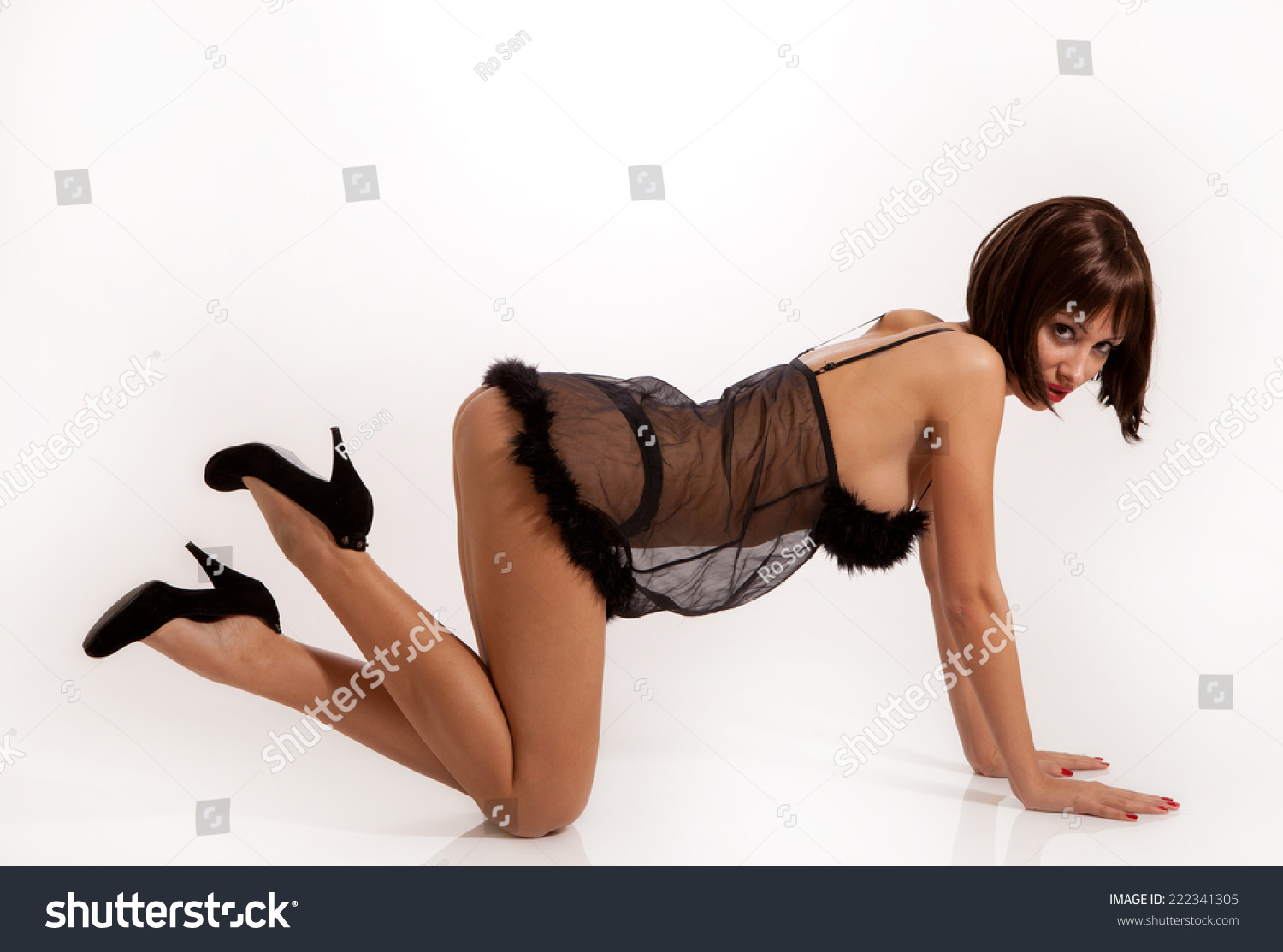 sexy woman black lingerie high heels stock photo (royalty free