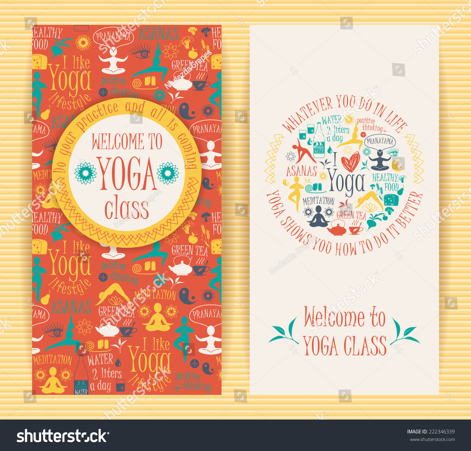 Flyers Yogic Quotes Yoga Class Vector Pattern Stock Vector Royalty