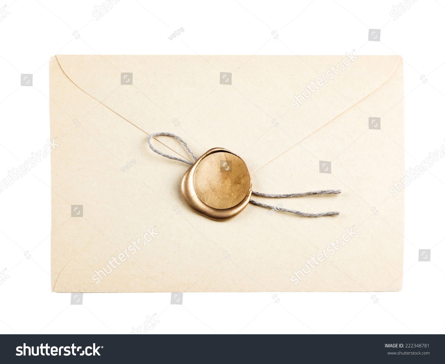 Gold Mail: Old Mail Envelope Gold Wax Seal Stock Photo 222348781