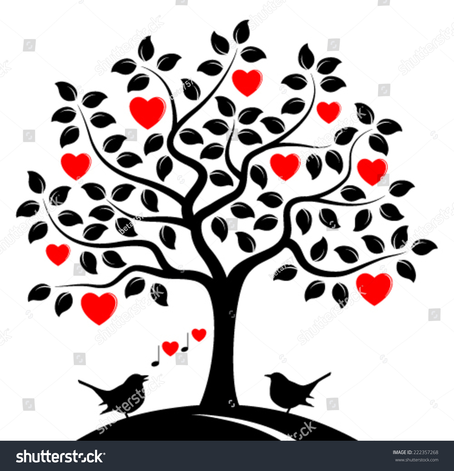 Vector Heart Tree Love Birds Isolated Stock Vector ...