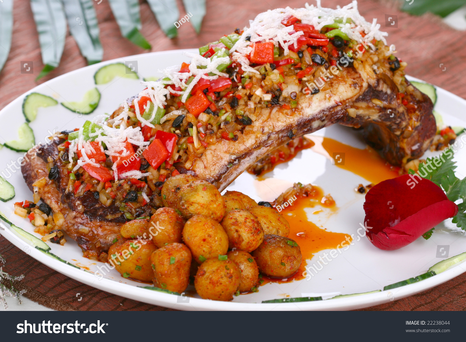 Delicious Chinese Fried Dish Pork Chop Stock Photo (Edit Now