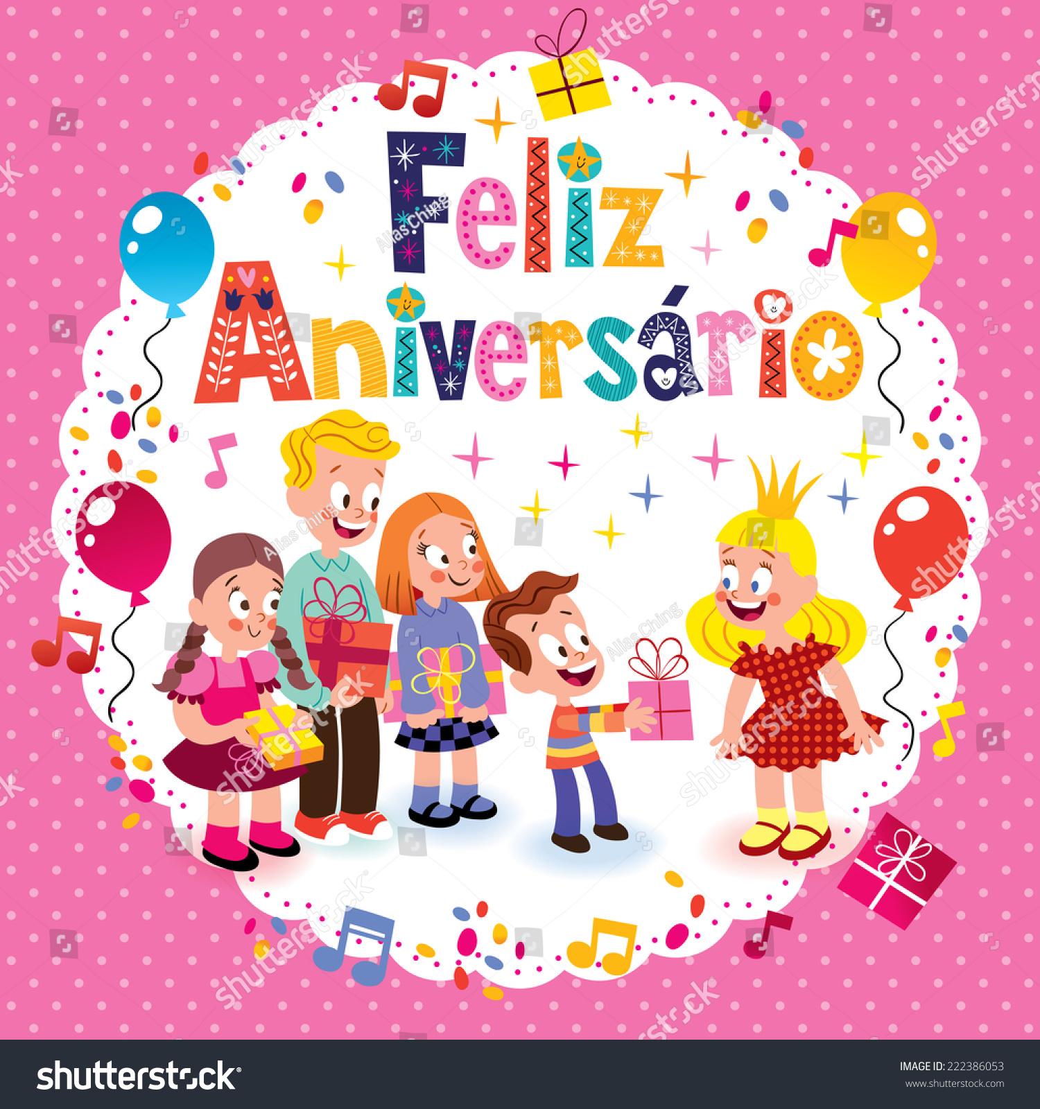 Feliz Aniversario Brazilian Portuguese Happy Birthday Vector – Portuguese Birthday Cards