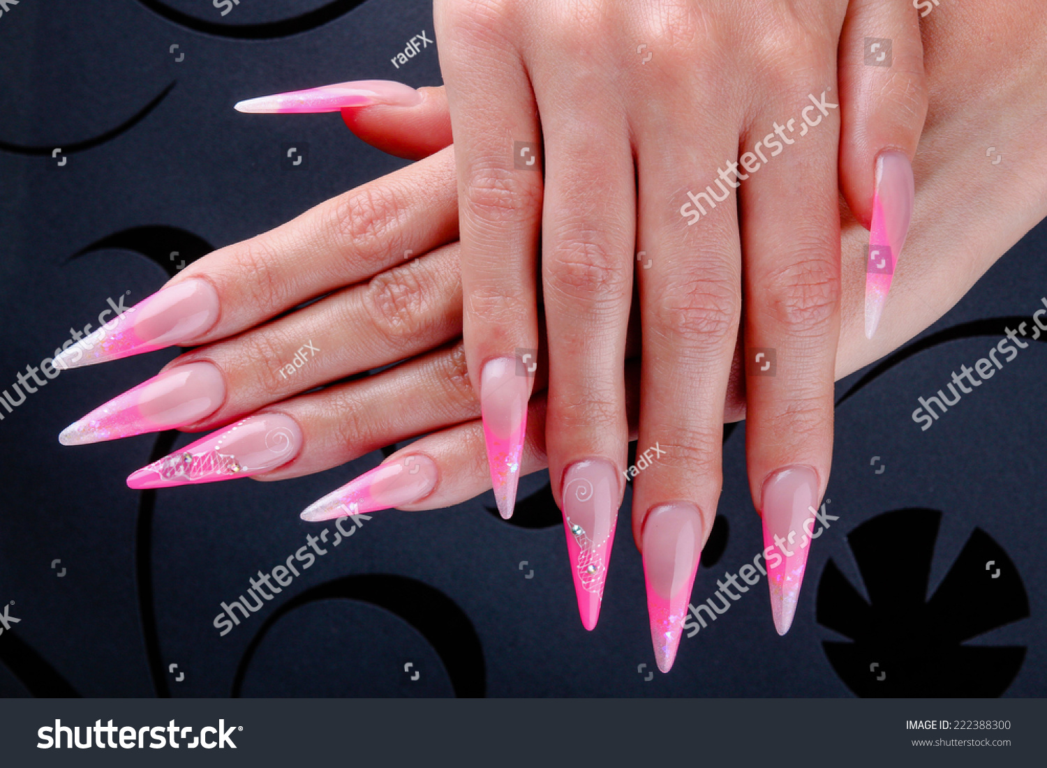 Pretty Woman Hand Perfect Extreme Long Stock Photo (Royalty Free ...