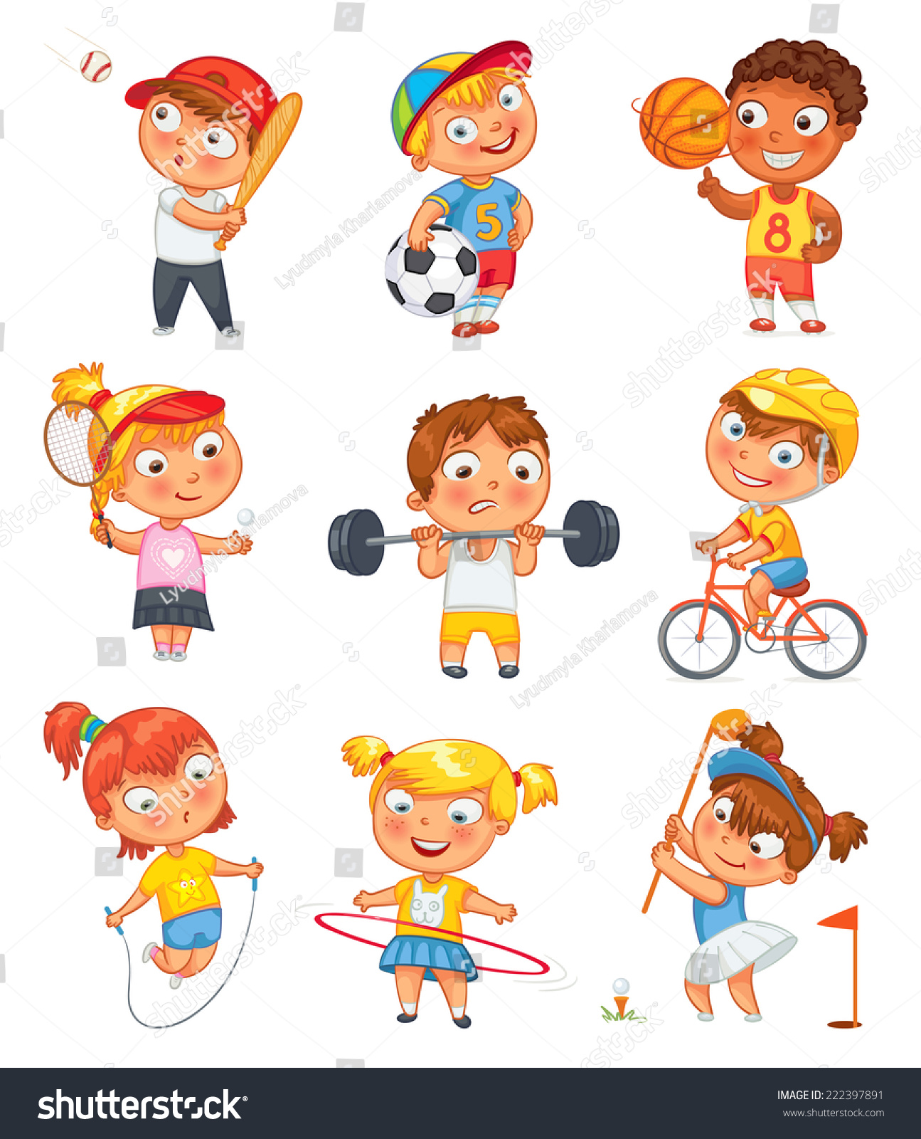 Sports Fitness Skipping Rope Hula Hoop Stock Vector 222397891 - Shutterstock