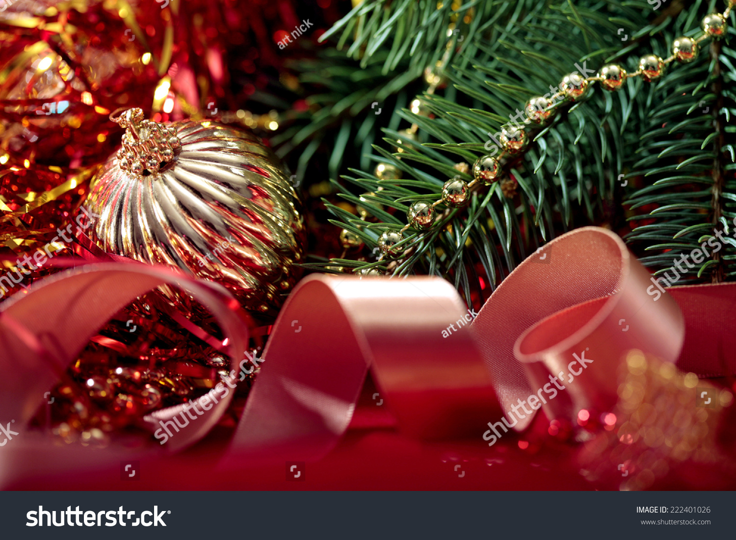 Beautiful Christmas Background With Branch Of Tree Close