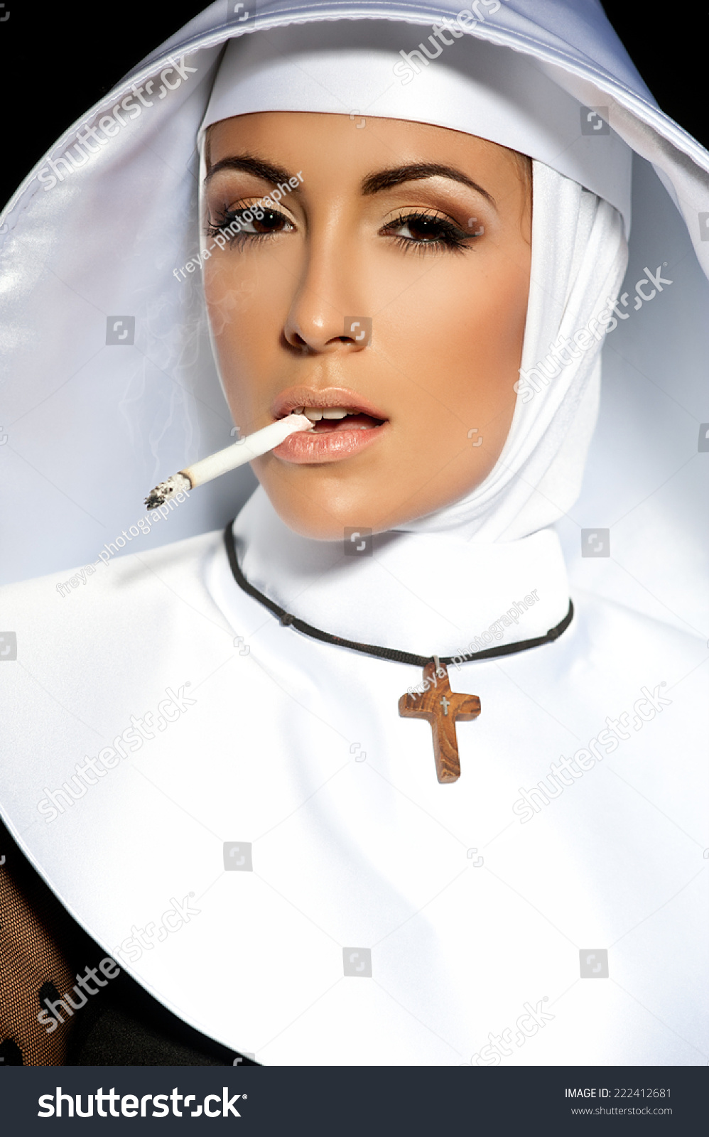 sexy nun halloween nun smoking stock photo (royalty free) 222412681