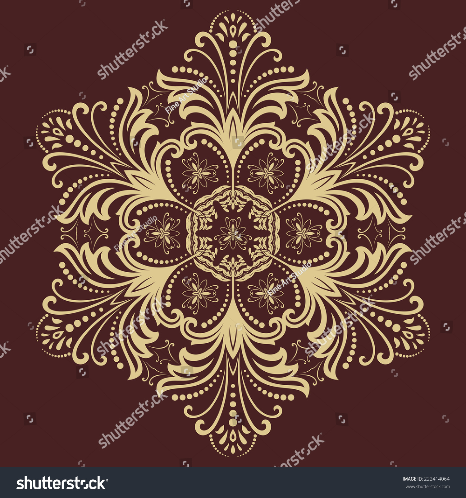 Orient Vector Ornamental Round Lace Damask Stock Vector