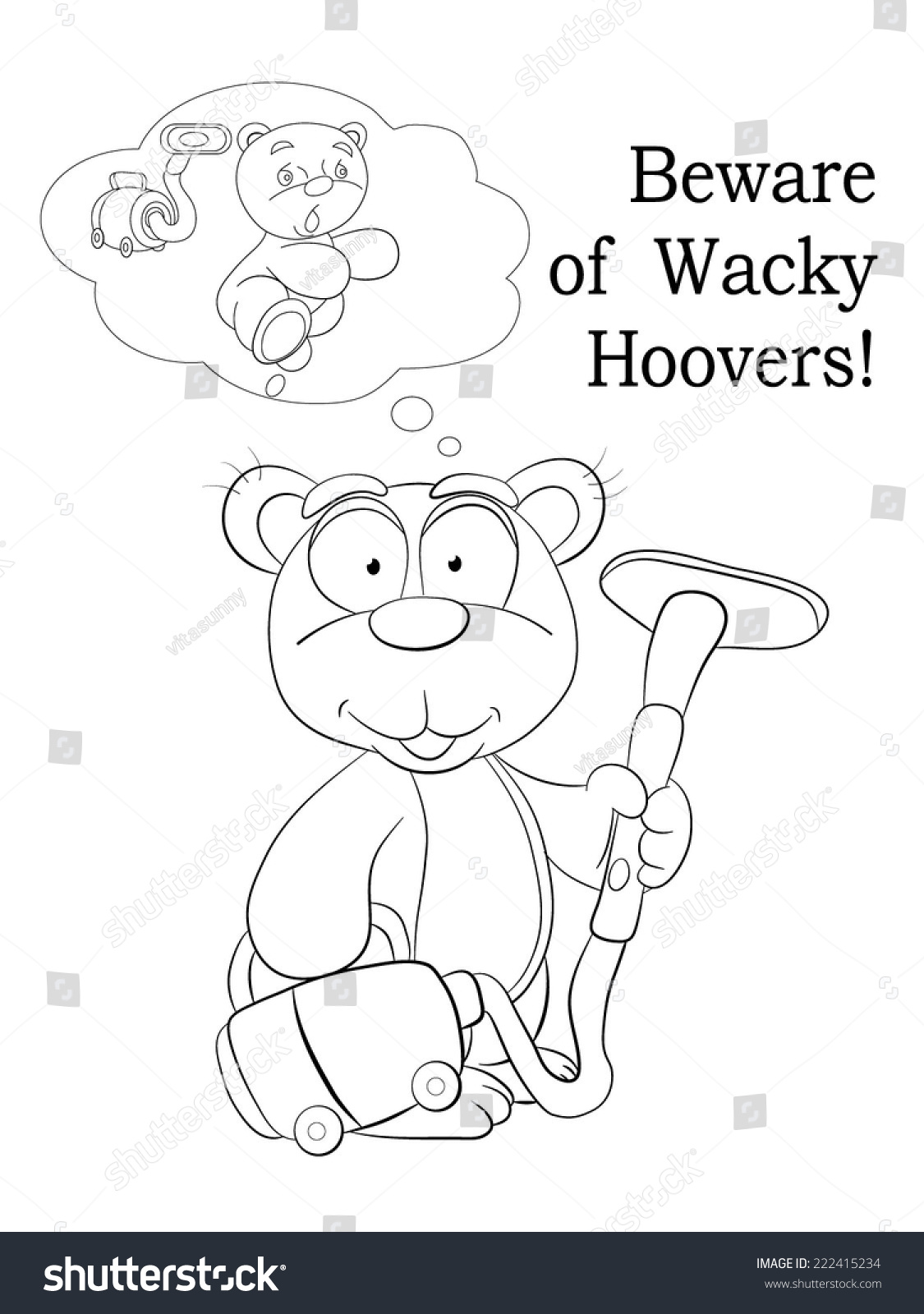 Coloring pages vacuum cleaner - Cartoon Small Teddy Bear And Vacuum Cleaner Coloring Book