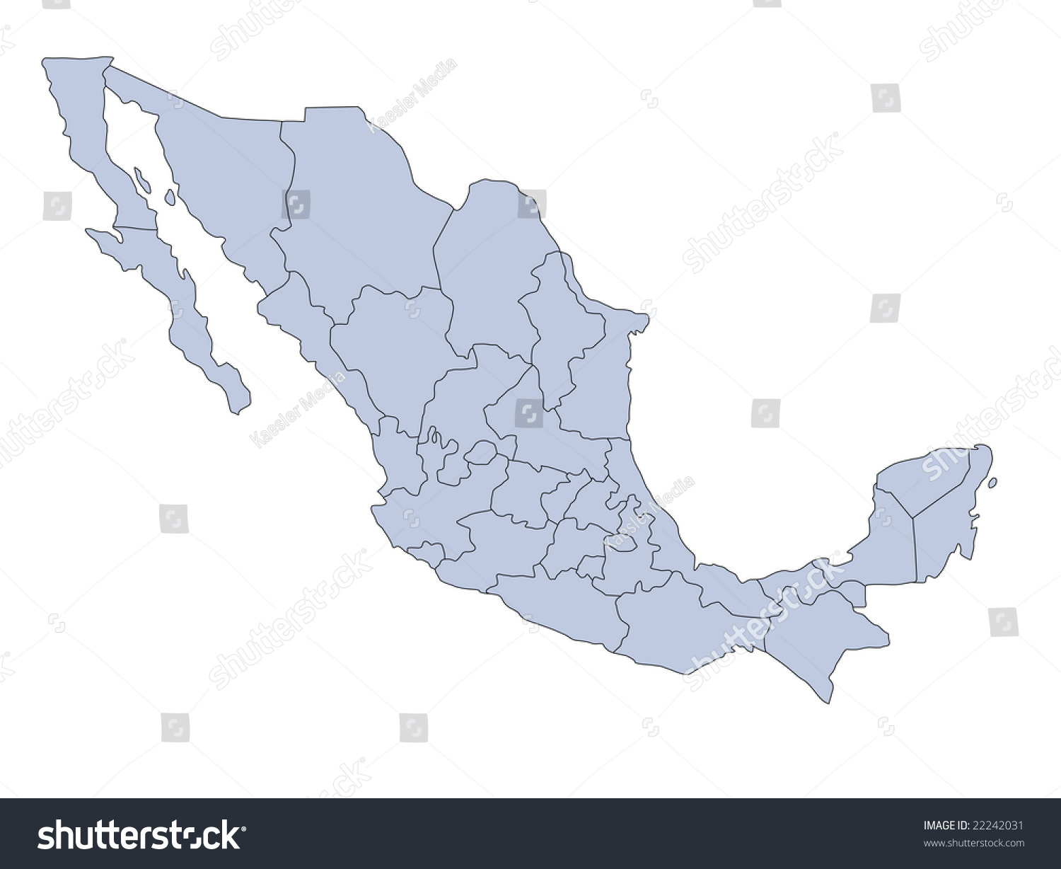 stylized map mexico showing different provinces stock illustration