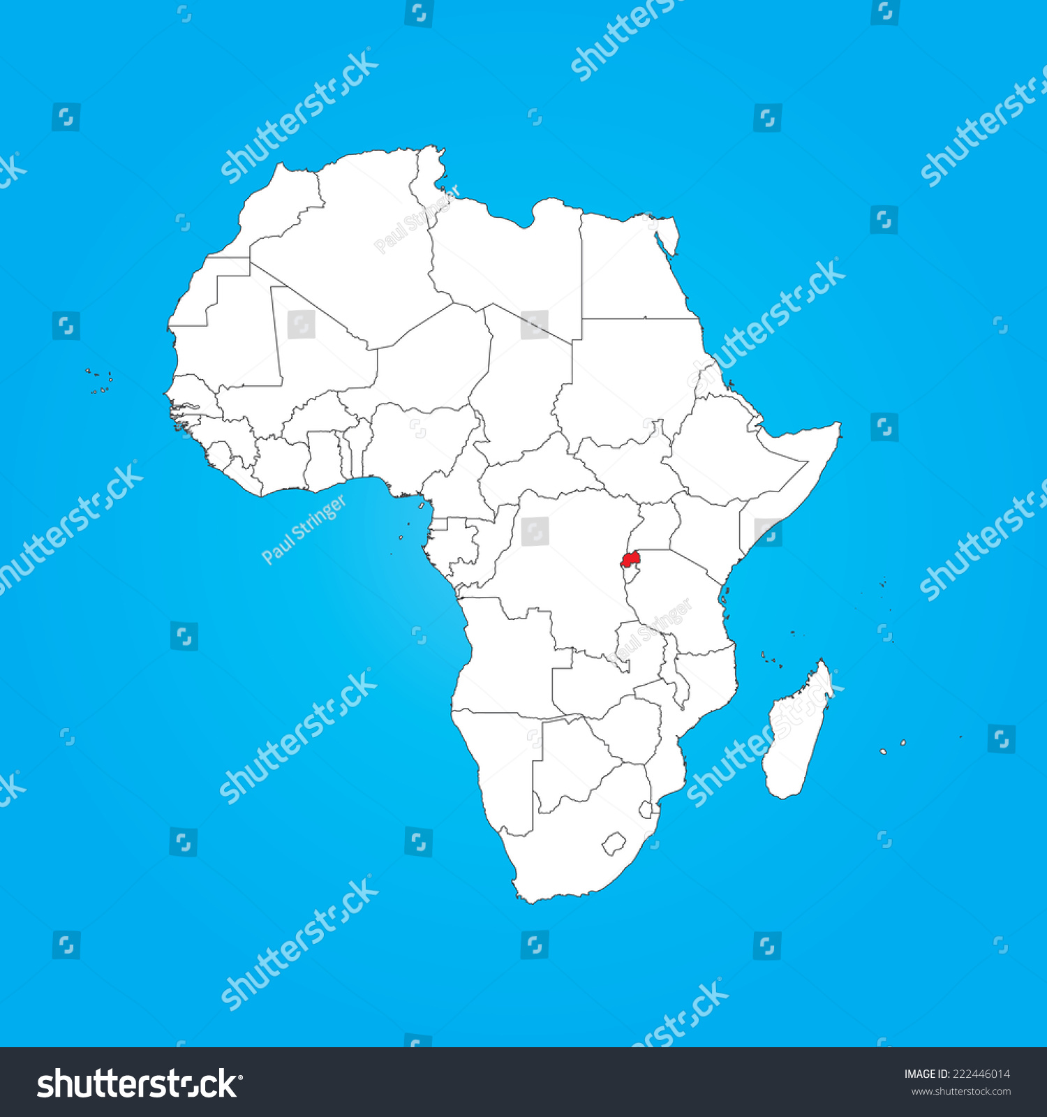 Map Africa Selected Country Rwanda Stock Vector Royalty Free