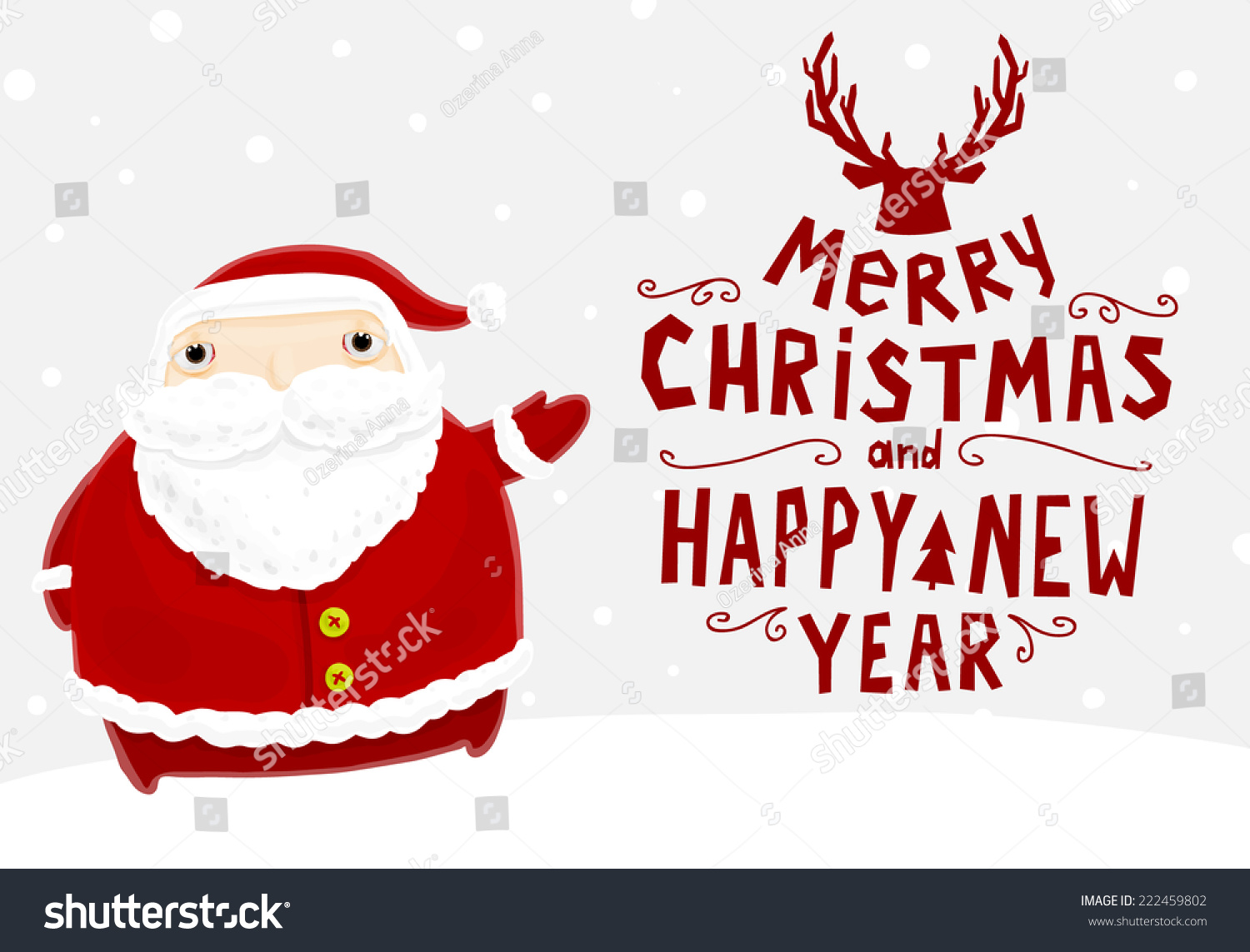 Santa Claus Merry Christmas Label Holiday Stock Vector 222459802 ...