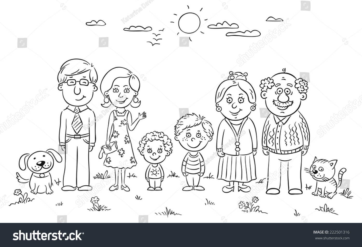 Big Happy Family Outdoors Black And White