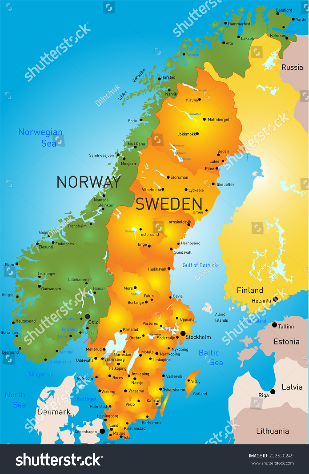 Vector Color Map Sweden Country Stock Vector Shutterstock - Sweden map of country