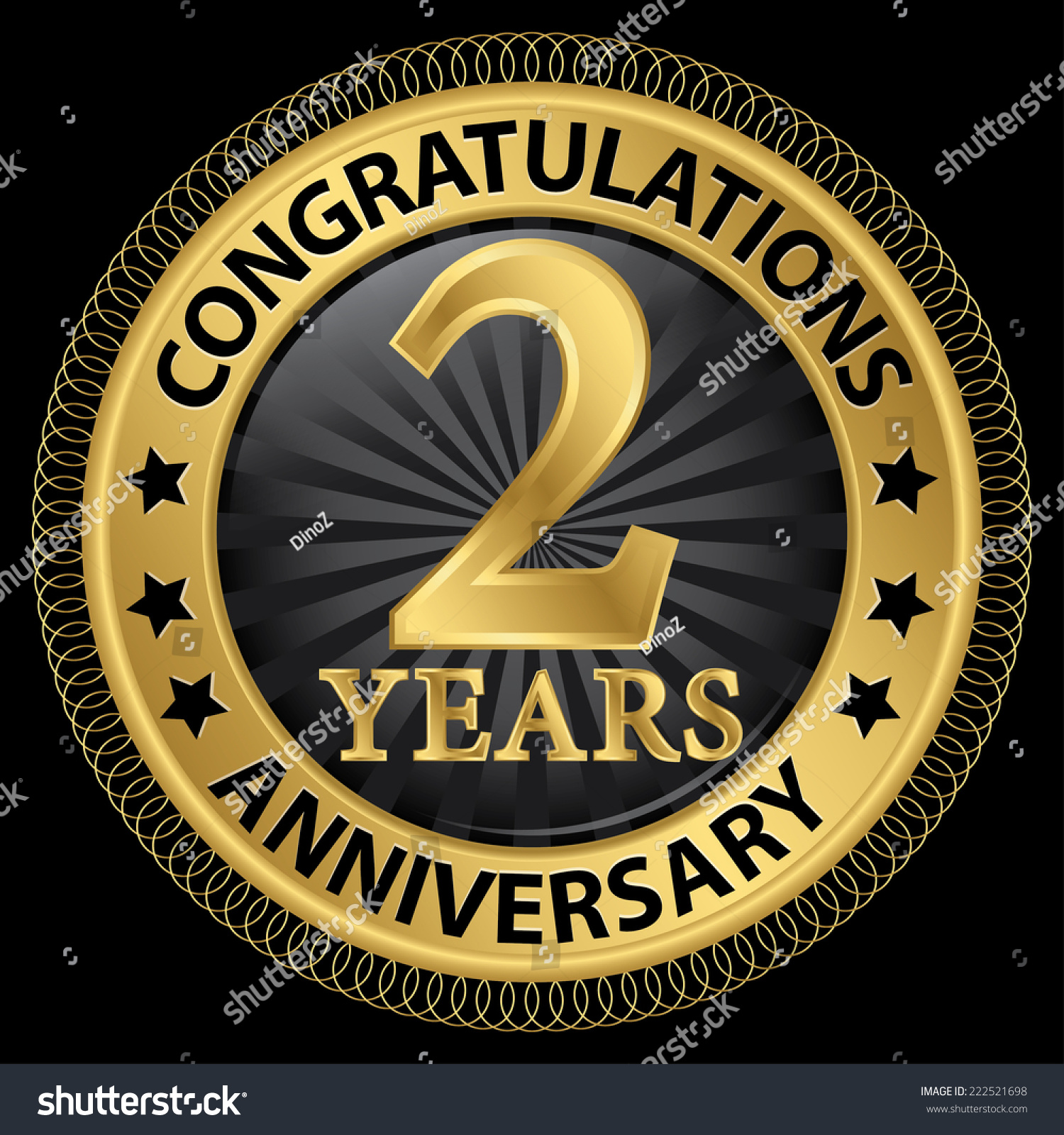 2 years anniversary congratulations gold label with ribbon