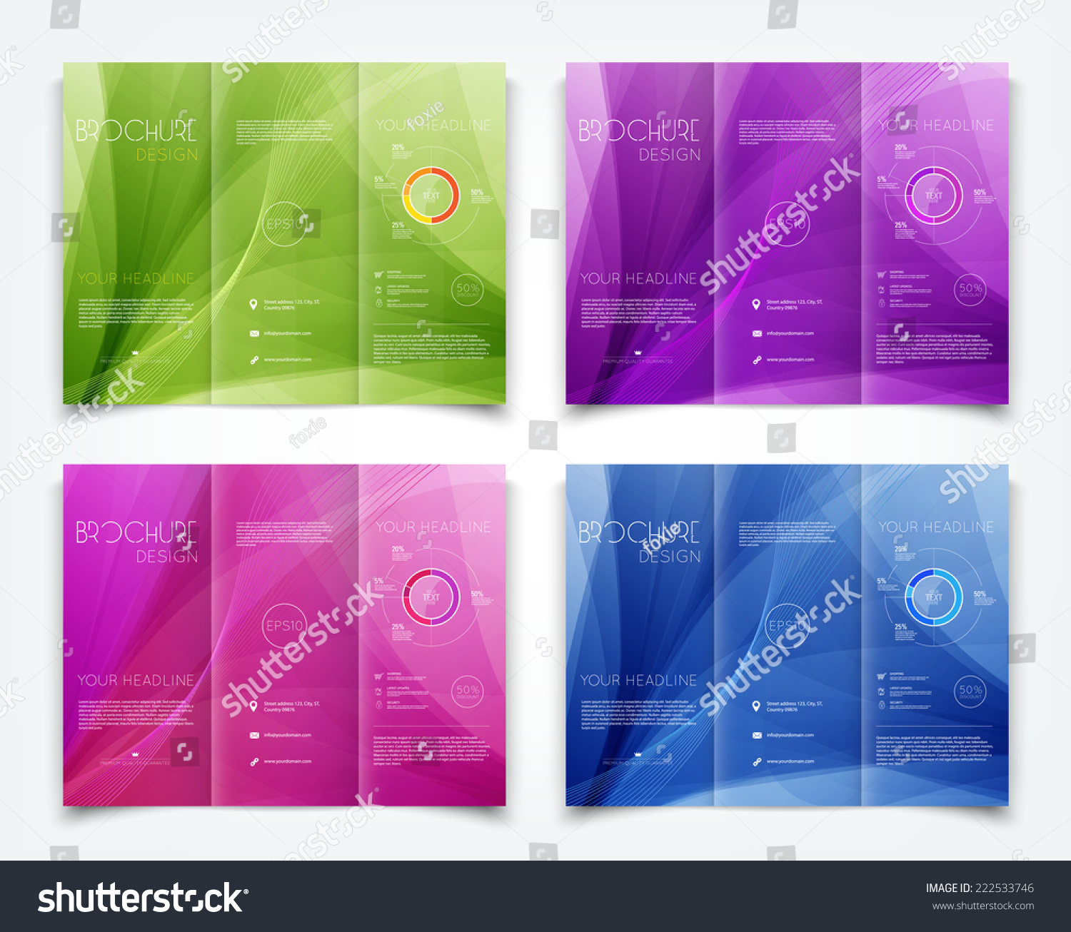 Vector collection trifold brochure design templates stock for Colorful brochure templates