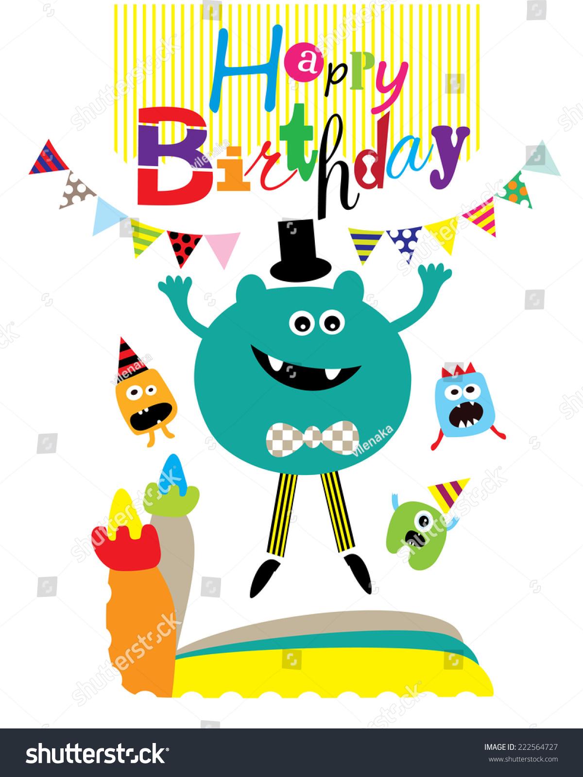 Happy Jumping Monster Birthday Card Editable Stock Vector 222564727