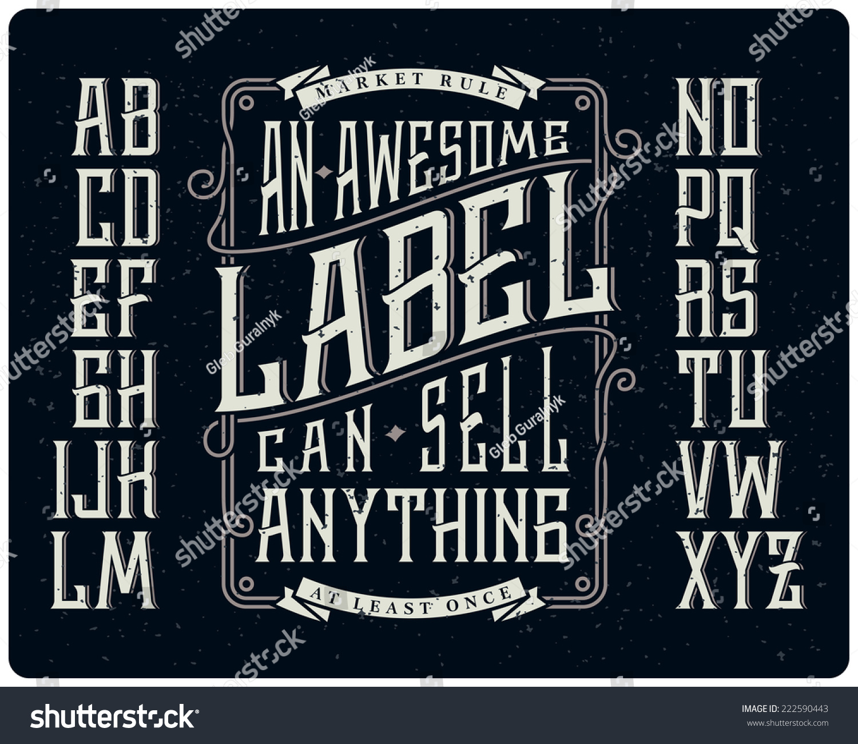 Retro Font Set With Ornament Frame For Making Label Design Stock Vector Illustration 222590443