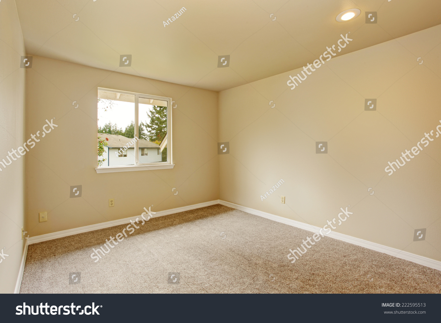Bright empty room with one window, beige carpet floor and ivory ...